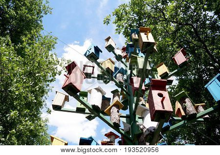 Group of lodges for birds - nesting boxes on tourist base near Volgograd