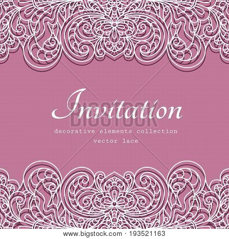 Swirly frame with lace border pattern cutout paper decoration for wedding announcement or invitation design