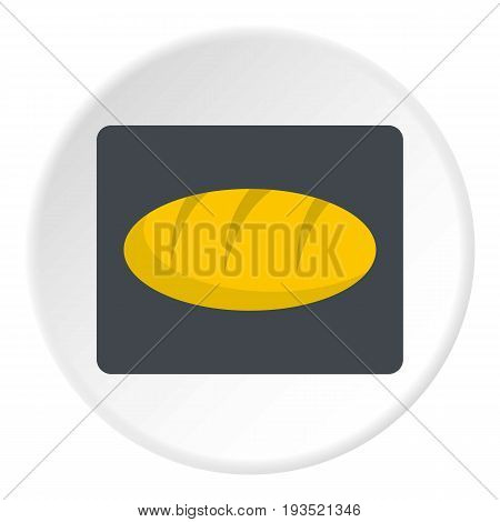 Loaf bread icon in flat circle isolated vector illustration for web
