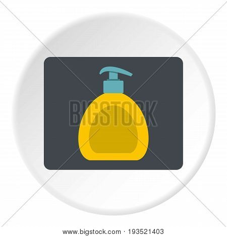 Yellow liquid soap bottle icon in flat circle isolated vector illustration for web