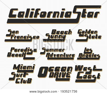 California Los Angeles San Francisco Miami typography for t-shirt print. Set of vintage t shirt stamp. Printing and badge applique label t-shirts jeans casual wear. Vector illustration.