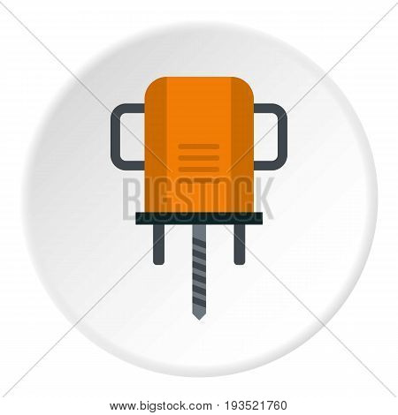 Orange boer drill icon in flat circle isolated vector illustration for web