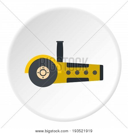 Yellow circular saw icon in flat circle isolated vector illustration for web