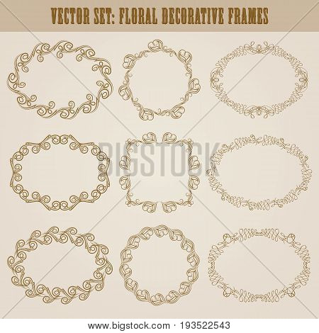 Vector set of decorative hand drawn elements, border, frame with floral elements for design of invitation, greeting, wedding, gift card, certificate, diploma, voucher. Page decoration in vintage style.