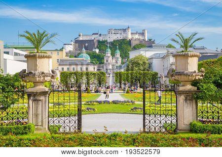 Mirabell Gardens With Hohensalzburg Fortress In Salzburg, Austria