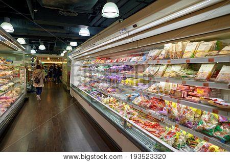 HONG KONG, CHINA - FEBRUARY 04, 2015: goods on display at a grocery store in Hong Kong
