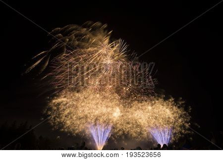 Bright Gold, Pink And Violet Fireworks Bursting In Night Sky