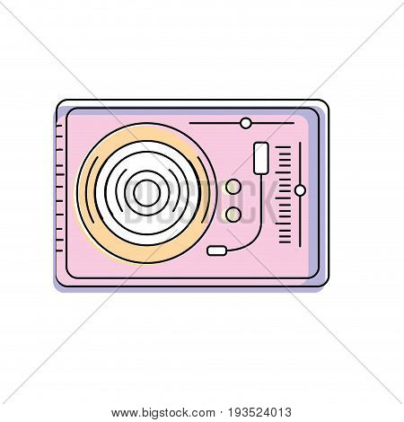 turntable to listen and play music vector illustration