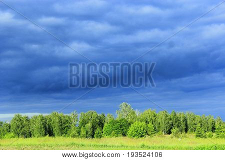 landscape with dark rainy clouds under the forest and meadow