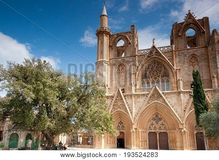 Medieval Cathedral of St Nicholas (Lala Mustafa Pasha Mosque) in Famagusta island of Cyprus