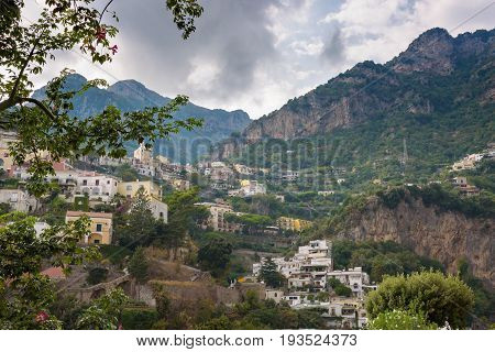 Scenic view of Positano on a cloudy day Campania Italy