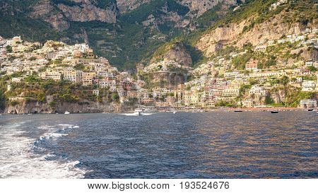 Panoramic view of Positano town in afternoon sun Campania Italy
