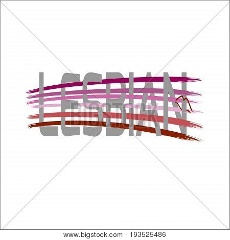 Text Lesbian using original colors for gay parade. Unconventional sexual orientation. Vector design