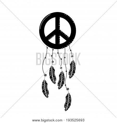 contour hippie emblem symbol with feathers design vector illustration