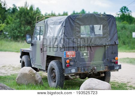 LITHUANIA - JUNE 10, 2017: Land Rover Lightweight military jeep. The Lightweight 1/2 ton was a British military vehicle supplied by Land Rover.