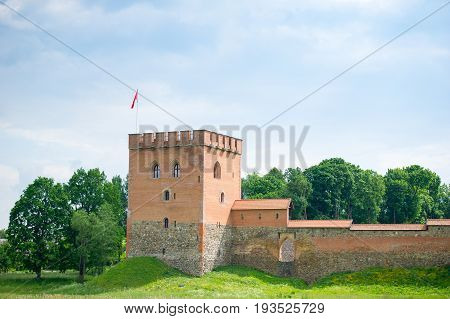 Medininkai Castle, a medieval castle in Vilnius district, Lithuania, was built in the late 13th century. It is the largest enclosure type castle in Lithuania. The castle had 4 gates and towers.