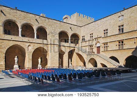 Rhodes Landmark Grandmasters Palace. Greece. Old town