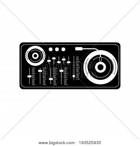 contour turntable to listen and play music vector illustration