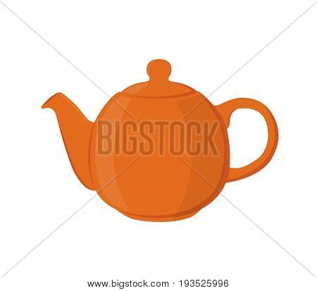 Vector illustration of teapot. Pottery fictile, clay teakettle. Made in cartoon flat style