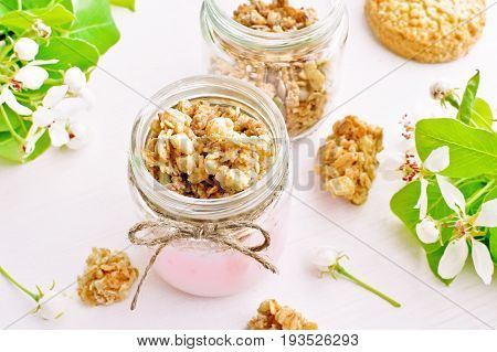 fruit yogurt with wholegrain granola in small glass jar, spring tree flowers and leaves background, healthy breakfast concept