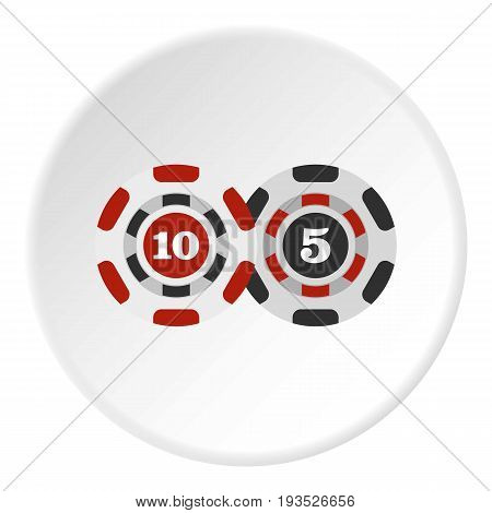Poker chips nominal five and ten icon in flat circle isolated vector illustration for web