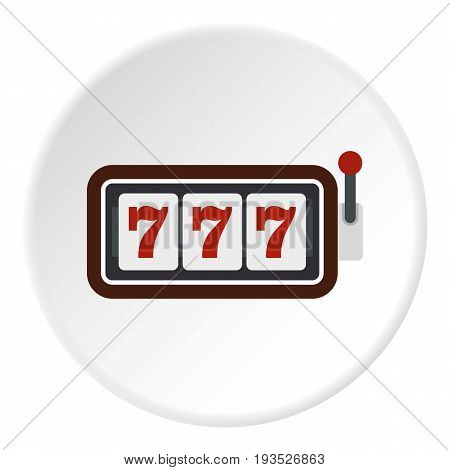 Slot machine with three sevens icon in flat circle isolated vector illustration for web