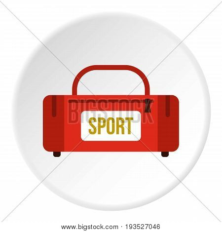 Red sports bag icon in flat circle isolated vector illustration for web