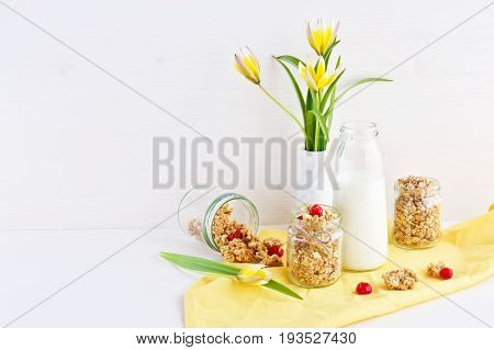 wholegrain oat crunchy flakes with dry cherry, bottle of fresh milk over linen tablecloth, spring tulips bouquet, light wooden background, copy space