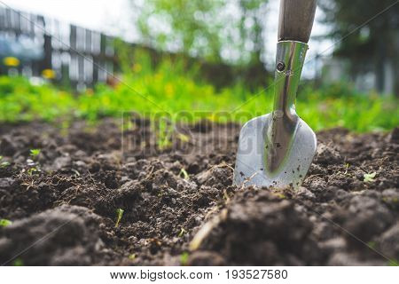 Scapula on the background of fertile soil. Place for the text. The concept of agriculture. Metal garden tools