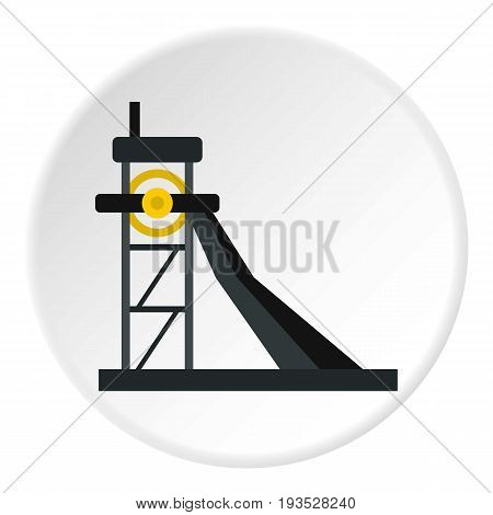 Equipment for washing rocks icon in flat circle isolated vector illustration for web