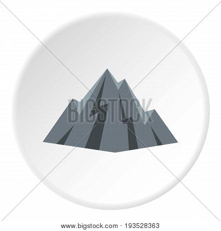 Rock icon in flat circle isolated vector illustration for web