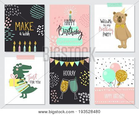 Happy birthday greeting cards and party invitation templates vector illustration. Hand drawn style