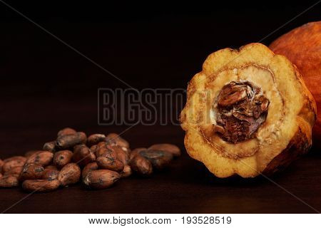 Close-up of cocoa seeds laying on dark wooden table