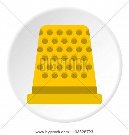 Thimble icon in flat circle isolated vector illustration for web