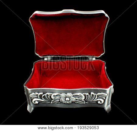 Red velvet inner side of jewelry box on black background