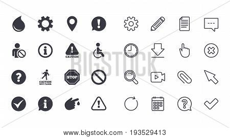 Set of Attention, Information and Caution icons. Question mark, warning and stop signs. Injury, disabled person and tick symbols. Calendar, Document and Download line signs. Vector