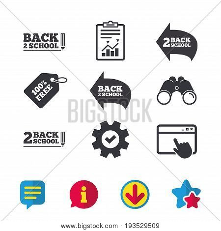 Back to school icons. Studies after the holidays signs. Pencil symbol. Browser window, Report and Service signs. Binoculars, Information and Download icons. Stars and Chat. Vector