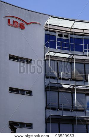 MAINZ, GERMANY - JUNE 26: The office building of the building society LBS with logo on the modern facade on June 26, 2017 in Mainz.