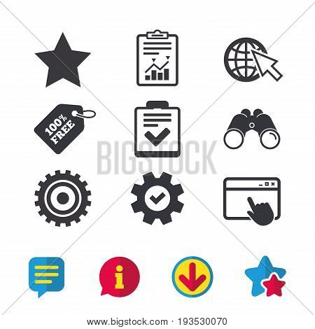 Star favorite and globe with mouse cursor icons. Checklist and cogwheel gear sign symbols. Browser window, Report and Service signs. Binoculars, Information and Download icons. Stars and Chat. Vector