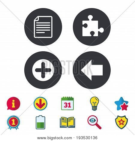 Plus add circle and puzzle piece icons. Document file and back arrow sign symbols. Calendar, Information and Download signs. Stars, Award and Book icons. Light bulb, Shield and Search. Vector