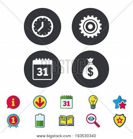 Business icons. Calendar and mechanical clock signs. Dollar money bag and gear symbols. Calendar, Information and Download signs. Stars, Award and Book icons. Light bulb, Shield and Search. Vector