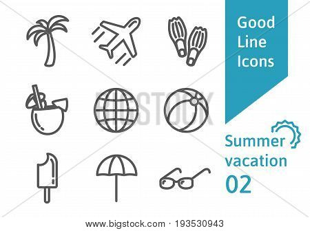 Summer vacation outline icons set 02. Airplane, umbrella, sunglasses, pina colada cocktail, flippers and other linear symbols