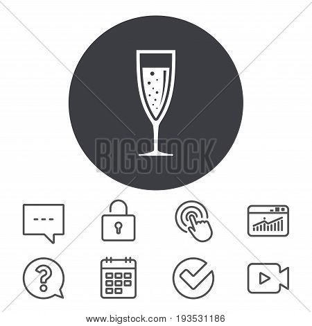 Glass of champagne sign icon. Sparkling wine with bubbles. Celebration or banquet alcohol drink symbol. Calendar, Locker and Speech bubble line signs. Video camera, Statistics and Question icons
