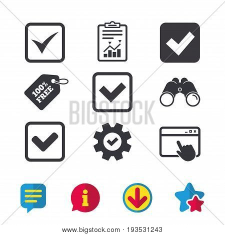 Check icons. Checkbox confirm squares sign symbols. Browser window, Report and Service signs. Binoculars, Information and Download icons. Stars and Chat. Vector