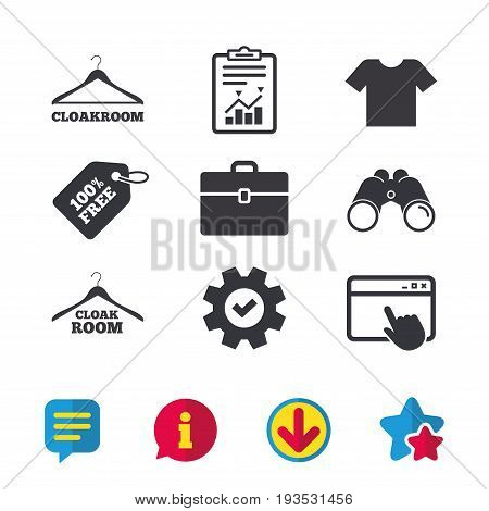 Cloakroom icons. Hanger wardrobe signs. T-shirt clothes and baggage symbols. Browser window, Report and Service signs. Binoculars, Information and Download icons. Stars and Chat. Vector