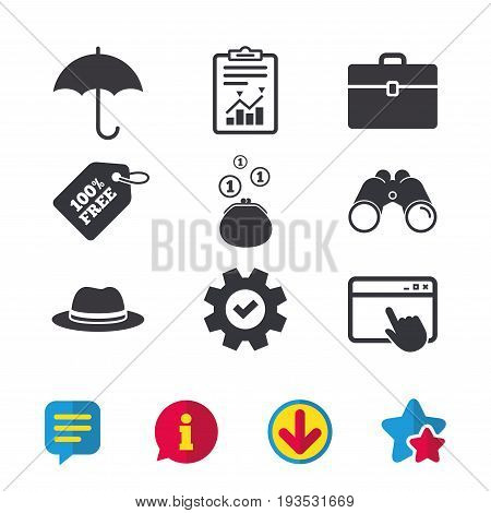 Clothing accessories icons. Umbrella and headdress hat signs. Wallet with cash coins, business case symbols. Browser window, Report and Service signs. Binoculars, Information and Download icons