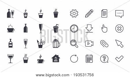 Set of Drinks, Beer and Cocktails icons. Coffee, Tea and Alcohol drinks. Wine bottle, Glass and Bar symbols. Calendar, Document and Download line signs. Pencil, Service and Search icons. Vector