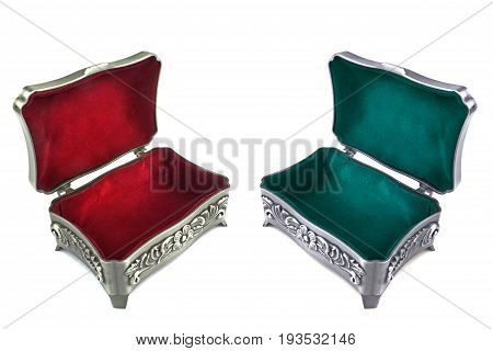 Jewelry boxes with red and green velvet inner side