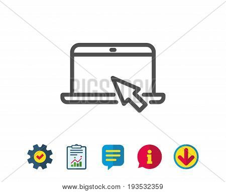 Laptop computer icon. Notebook with mouse cursor sign. Portable personal computer symbol. Report, Service and Information line signs. Download, Speech bubble icons. Editable stroke. Vector