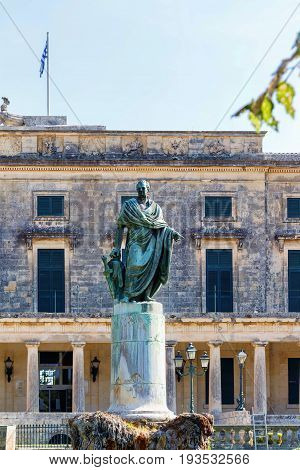 General Sir Frederick Adam's statue in front of the Museum of Asian Art, Corfu Town, Greece